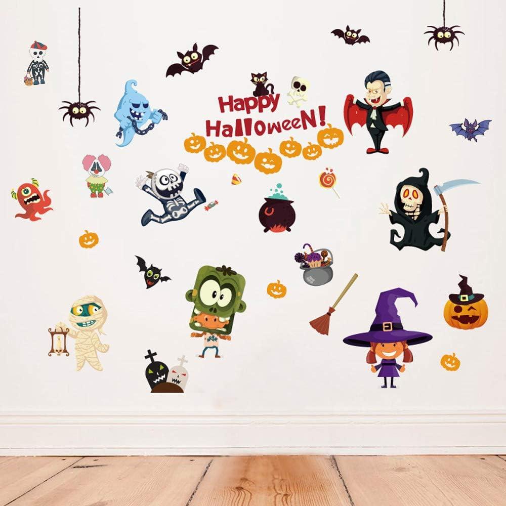 Happy Halloween Home Decor Indoor Outdoor Removable Wall Decals Window Art Decoration Vinyl Witch Bat Spider Vampire Stickers