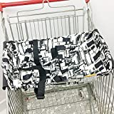 Olpchee Portable Baby Shopping Cart Hammock Bed Grocery Cart Cover for 0-6 Months Babies Free Your Hands (Black White)