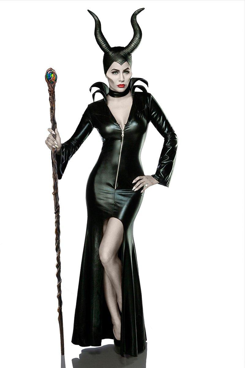 Damen Teufel Kostüm Verkleidung aus Kleid, Halsband, Hörnermaske Teufelin in schwarz L dunkel