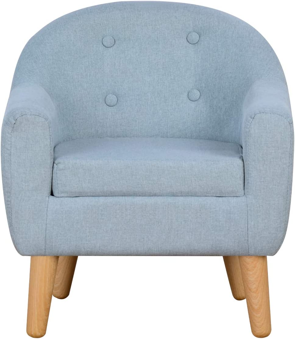 Durable Single Upholstered Kids Mini Sofa and Chair with Wooden Frame and Linen Fabric, Ideal Children Seat for Children Gift(Sage)