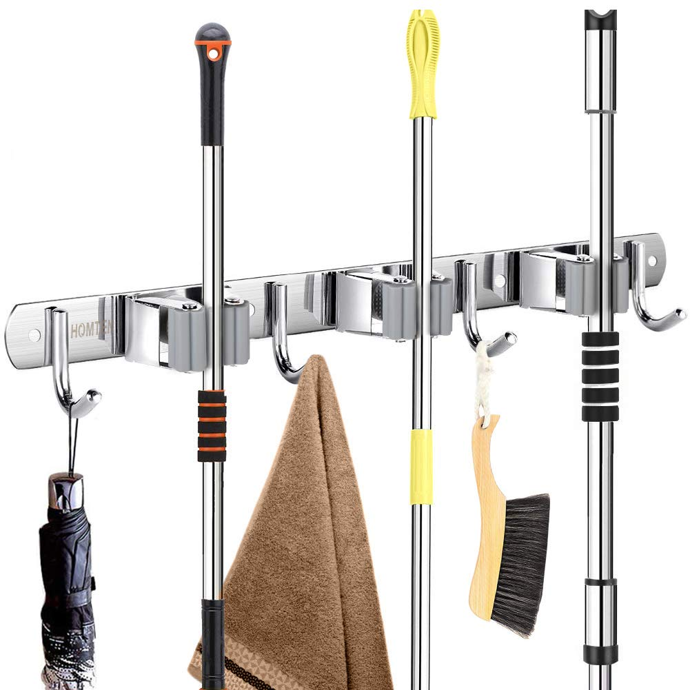 "Broom Mop Holder Wall Mount 16"" Installation Broom Mop Hanger Organizer Stainless Steel 3 Racks 4 Hooks for Bathroom Kitchen Office Closet Garden"