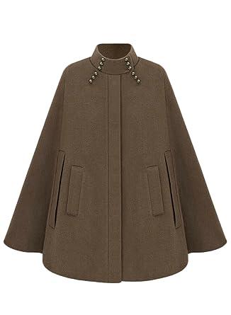 9d1874a5baf Amazon.com  Azbro Women s Fashion Winter Warm Woolen Cape Cloak Coat ...