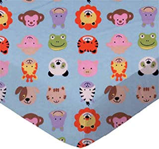 product image for SheetWorld Fitted 100% Cotton Flannel Pack N Play Sheet Fits Graco 27 x 39, Animal Faces Blue, Made in USA