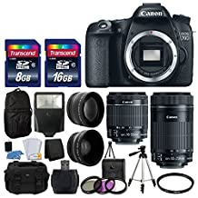 Canon EOS 70D Digital SLR Camera Full HD 1080p Video + EF-S 18-55mm F3.5-5.6 IS STM + 55-250mm STM IS Lens + 58mm 2x Lens + Wide Angle Lens + Auto Power Flash + Uv Filter Kit + 24GB Accessory Bundle