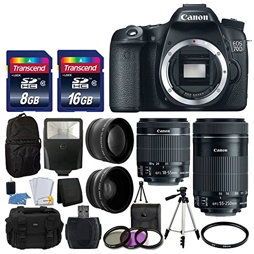 Canon EOS 70D Digital SLR Camera Full HD 1080p Video + EF-S 18-55mm F3.5-5.6 IS STM + 55-250mm STM IS Lens + 58mm 2x Lens + Wide Angle Lens + Auto Power Flash + Uv Filter Kit + 24GB Accessory Bundle by PHOTO4LESS