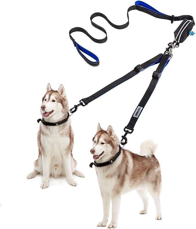 Medium and Large Dogs Dog Leash Flexible 60.5 INCH Professional Dog Leashes for Small Double Dog Leash 360/° Tangle Free /& Soft Handle Two Dog Leash Bonus Folding Dog Bowl