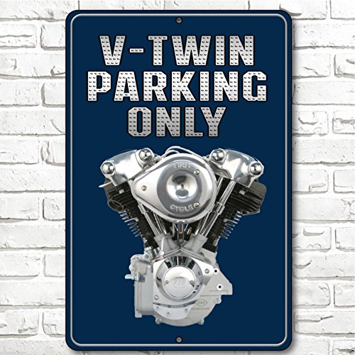 Forever Signs Of Scottsdale V-Twin Parking Only Motorcycles Sign Man Cave Bar Sign Aluminum Custom Blue Cool