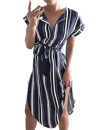 Vestidos De Mujer Verano Rayas Elegantes Manga Corta V Cuello Asimetricas Irregular Vintage Moda Casual Medium Largos Vestido Camiseros Classic: Amazon.es: ...