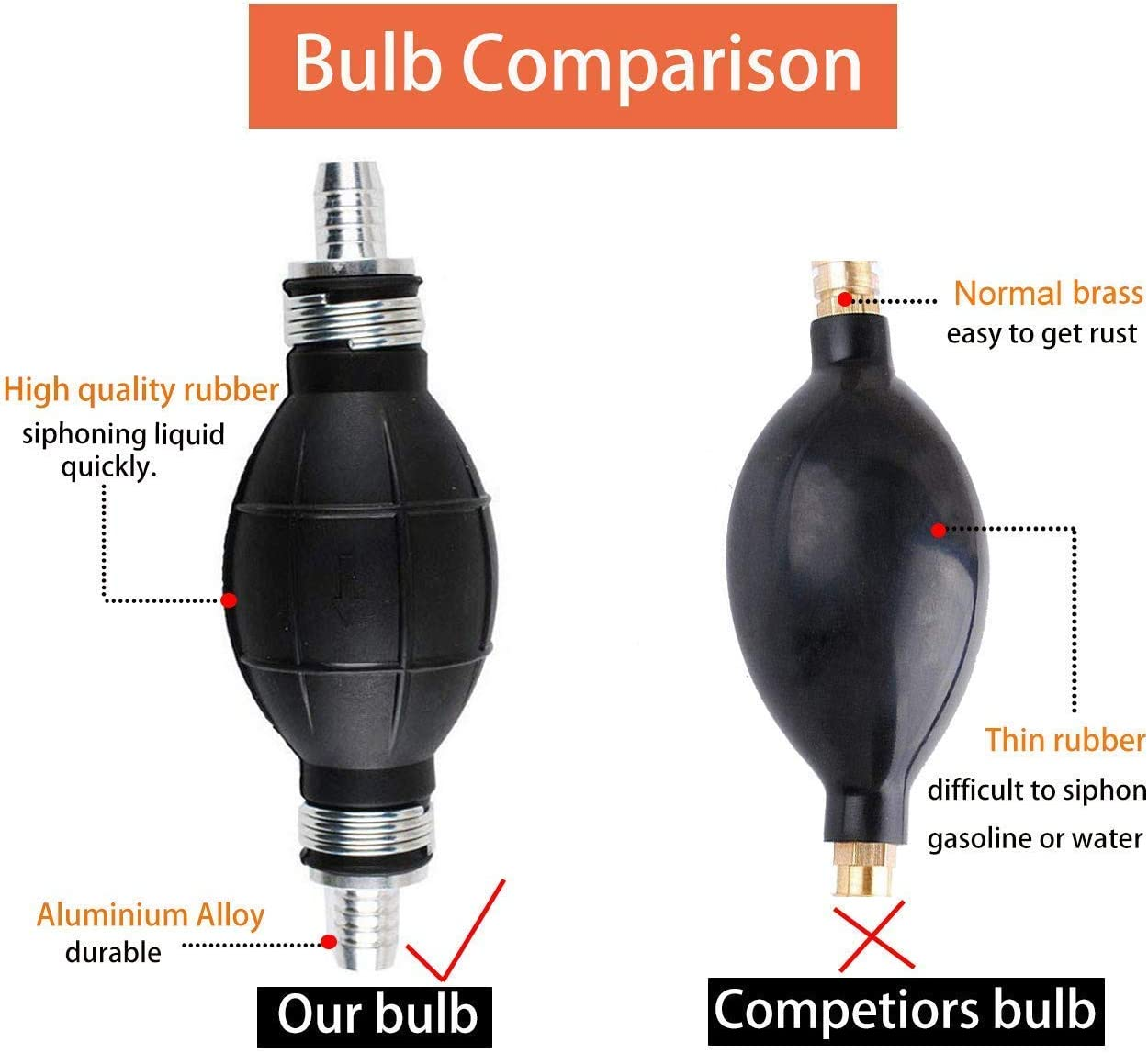 Hose OD 10mm Podoy Siphon Pump for Gas Oil Water Fuel Transfer,Gasoline Siphone Hose with 8mm Rubber Bulb,Fuel Transfer Pump with 2 Eco-Friendly Hose