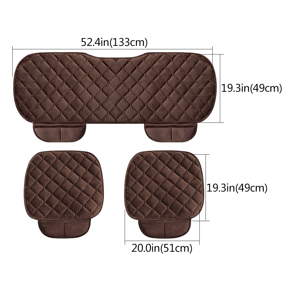 Black WINGOFFLY 3 Pack Thicken Front and Rear Car Seat Cushion Nonslip Car Interior Seat Cover Pad Mat Fit for Auto Vehicle
