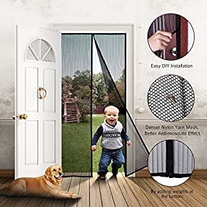 """Homitt Magnetic Screen Door with Heavy Duty Mesh Curtain and Full Frame Velcro FITS Door Size up to 36""""-82"""" Max"""
