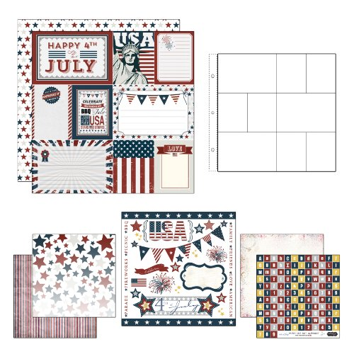 Scrapbook Customs Themed Paper and Stickers Scrapbook Kit, Fourth of July