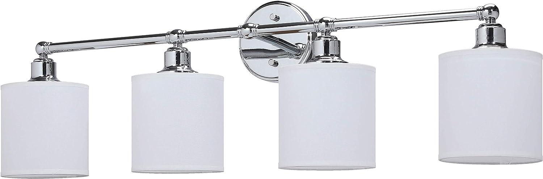 XiNBEi Lighting Wall Light, Bathroom Vanity Light with Fabric Shade, 4 Light Wall Fixture Chrome Finish for Bathroom XB-W1214-4-CH
