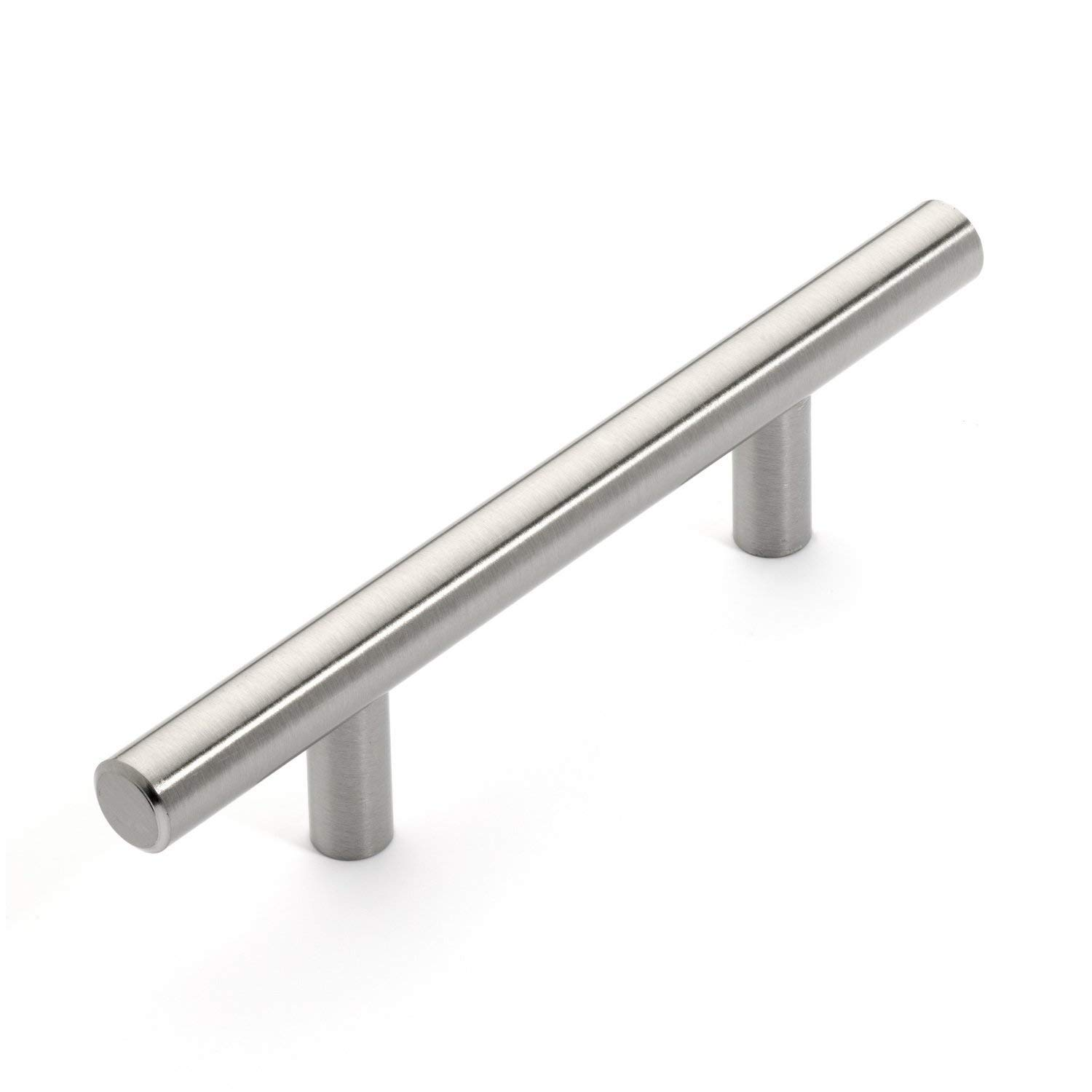 "Hamilton Bowes Satin Nickel Cabinet Hardware Euro Style Bar Handle Pull - 3"" Hole Centers, 5-3/4"""" Overall Length (25)"