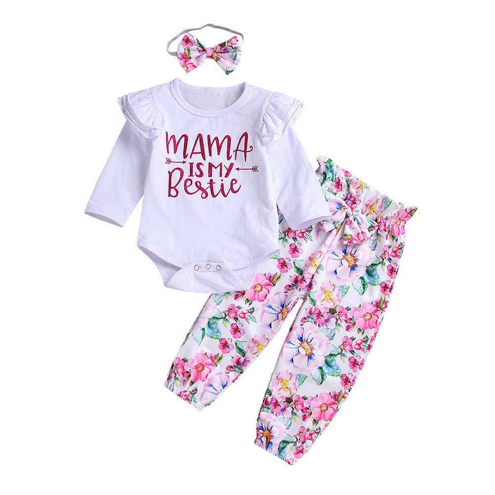 Newborn Baby Clothes Set 3PCS Letter Print Ruffle Romper Jumpsuit Tops+Floral Stripe Pants+Headbands Set Outfit