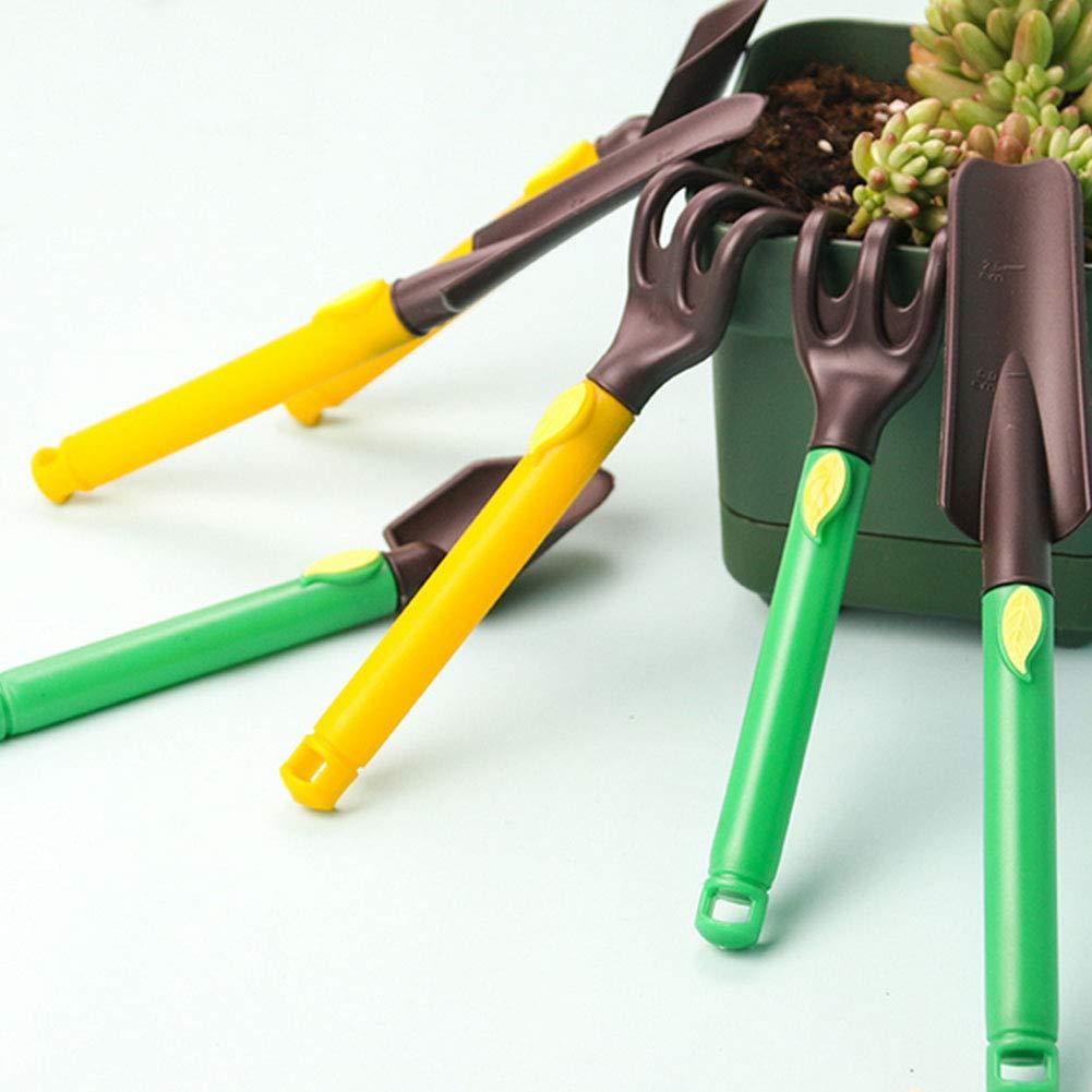Jardin Tool Set Kit Garden 3 pi/èces avec Poign/ées ergonomiques Petit Plastique de Jardin Kits doutils Pelle R/âteau pour Les Enfants Jouer Vert Produits de Maison