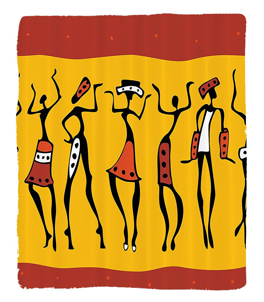 Chaoran 1 Fleece Blanket on Amazon Super Silky Soft All Season Super Plush Figures of African Female Dancers with Authentic Total Body Move Cheerful Retro Image Fabric Extra Red