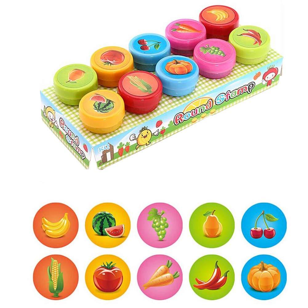 Set de timbres de l/égumes Dancila Kit de timbres de dessin anim/é mignon Set de 10 D/écorez les timbres des enfants pour le jeu les loisirs et plus encore color/é le plaisir