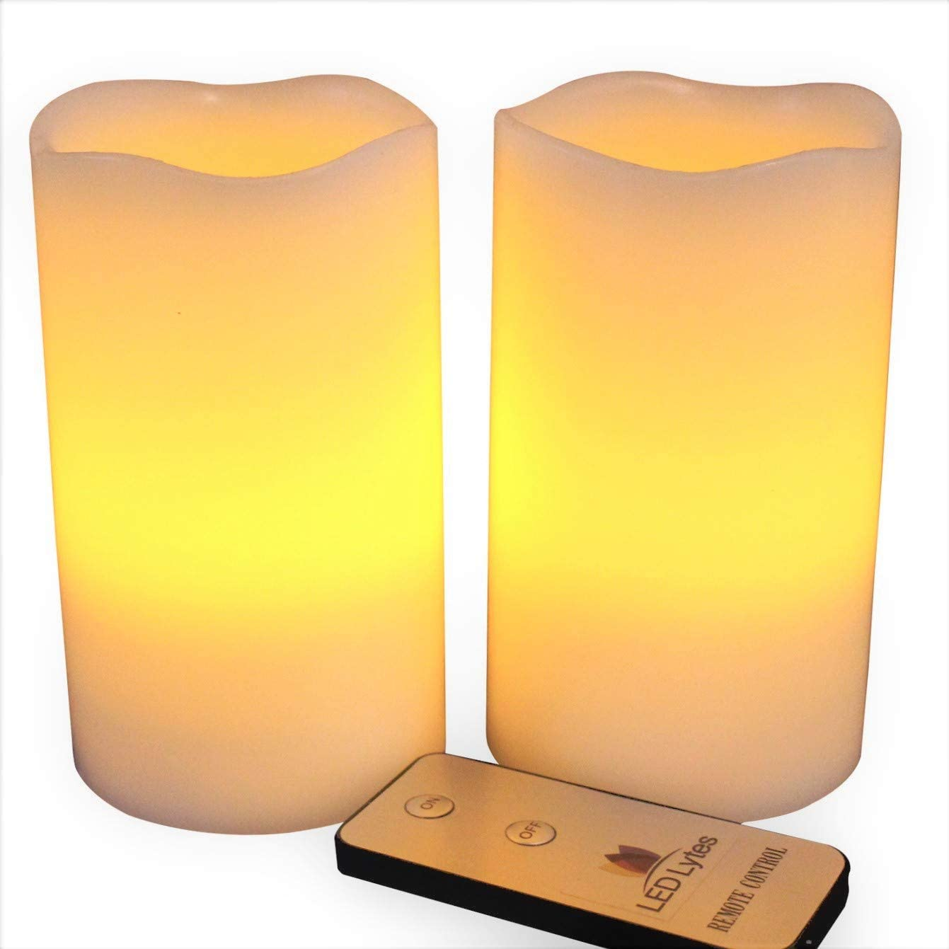 LED Lytes Flameless Candles, Battery Powered Candle Set, 2 Ivory Wax Amber Yellow Flickering Flame Pillars with Remote for Weddings, Parties and Gifts