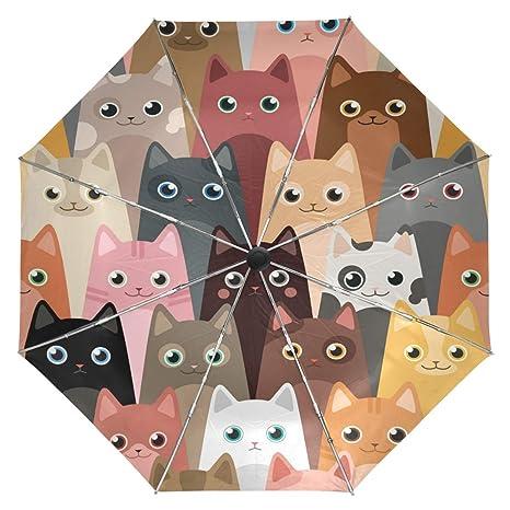 Wamika Cute Kitty Cats Umbrella Automatic Open Close Windproof Compact Anti-UV Travel Umbrella Animals