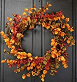 Impressive 24in Autumn Wreath-Silk Print Fall Eucalyptus