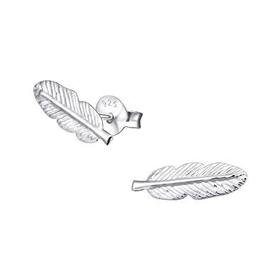iszie jewellery sterling silver Pretty Little Feather Stud Earrings, Feather Earrings for women,Leaf Stud Earrings