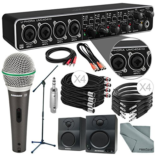 Behringer U-PHORIA UMC404HD USB 2.0 Audio/MIDI Interface and Platinum Bundle w/ Samson Q6 Mic, Stand & BT3 Studio Monitors + Loads of Cables + Fibertique Cloth by Photo Savings