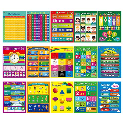 15 Educational Posters, Alphabet, Shapes, Colors, Numbers 1-100, Multiplication Table, Days of The Week, Months of The Year,Money,Emotions,Human -