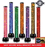 """Sensory LED Bubble Tube - 3 Foot """"Tank"""" With 8 Fake Fish - Floor Lamp with 7 Changing Light Colors - Stimulating Home and Office Décor - by Playlearn"""