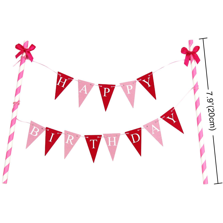 """KUNGYO Happy Birthday/""""Geburtstags Kuchen Dekoration Mini Blau Kuchen Bunting Banner und /""""1/"""" Kuchen Topper f/ür 1 Jahre Alten Jungen Geburtstagsfeier"""
