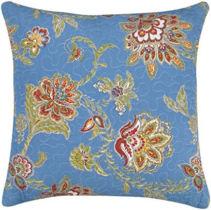 Laurel Mayfair Jacobean Quilted Decorative Pillow, 14 by 14-Inch, Blue