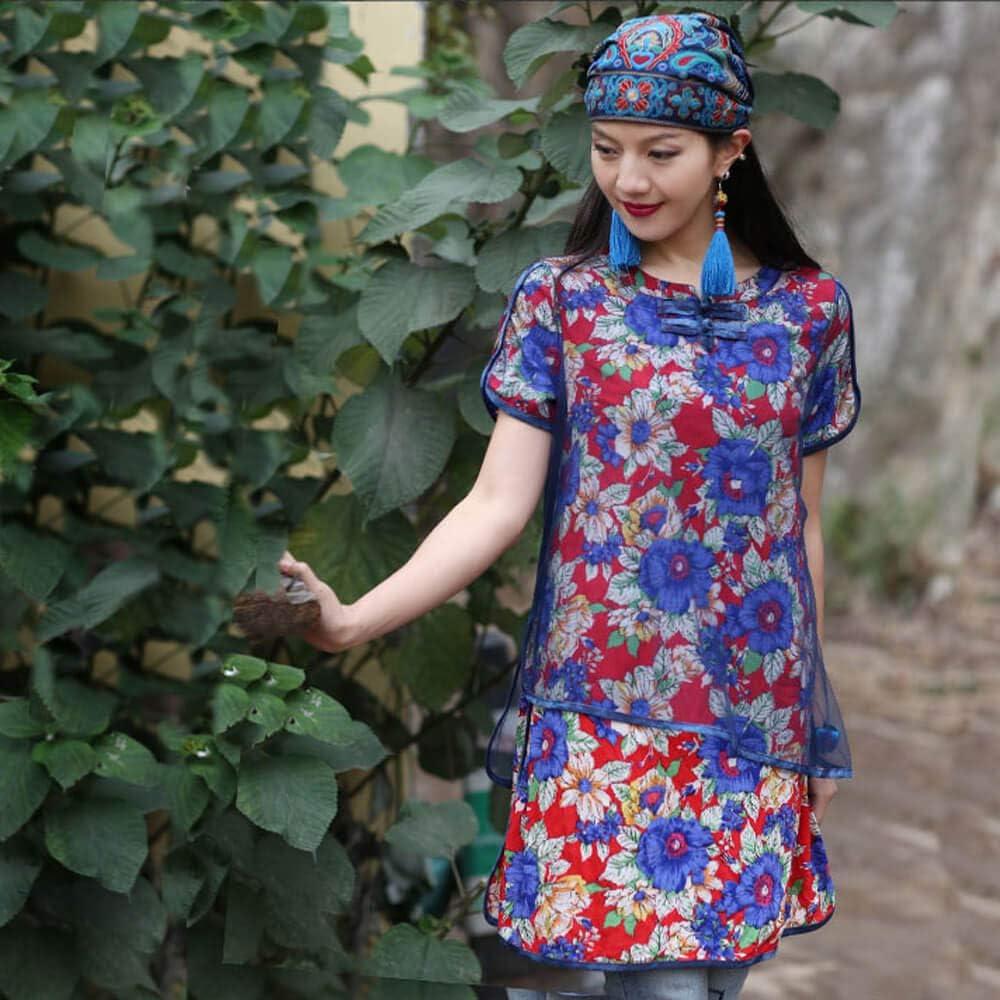 Women Summer Vintage Embroidery Ethnic Beanic Hat Cotton Elastic Turban Caps