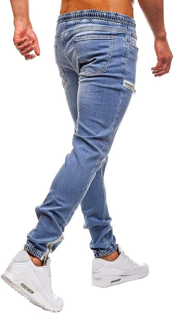 Limsea Super Skinny Denim Pants Slim Fit Vintage Elastic Waist with Drawstring Trousers Mens Stretch Jeans