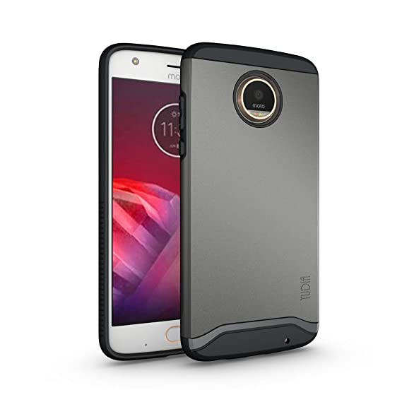 quality design bf718 dd49d TUDIA Moto Z2 Play Case, Slim-Fit Heavy Duty [Merge] Extreme  Protection/Rugged but Slim Dual Layer Case for Motorola Moto Z2 Play  (Metallic Slate)