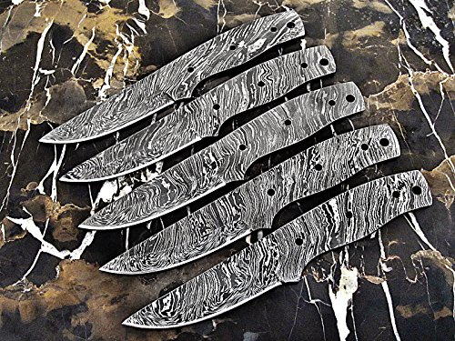 ColdLand | LOT OF 5 Handmade Damascus Steel Blank Blades Knife Making Supplies LOT5xSB84