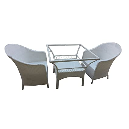 Virasat Furniture/Garden Furniture/Balcony Furniture Set for Outdoor/Indoor Use 1 Table with 2 Chairs(Without Glass)/Color-White