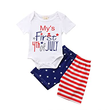 111a0173f Amazon.com  LUOLEE Baby Boy Girl My First 4th of July Outfit Clothes ...