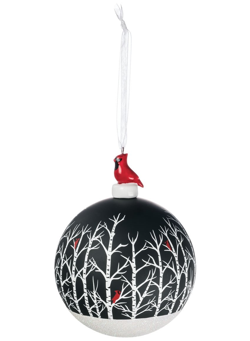 Sullivans - 4'' Christmas Tree Ball Ornament with a Sparkly Snowy Bottom, Trees with Red Cardinals and Topped with a Red Cardinal and a White Ribbon