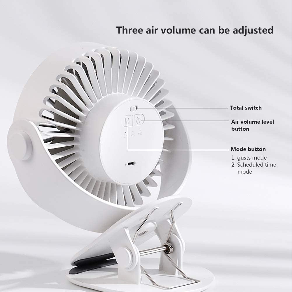 Tianqi Small Fan USB3 Speed Quiet Rechargeable Desktop Clip Fan Mini Portable 360 /° rotatable Baby car Cold Fan Large Wind Color : White+USB Small Fan+Night Light