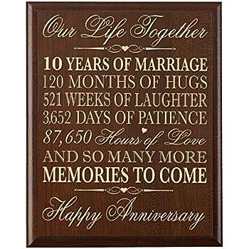 Amazon Lifesong Milestones 10th Wedding Anniversary Wall Plaque