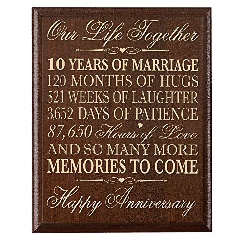 10th Wedding Anniversary Wall Plaque Gifts for Couple, 10th Anniversary Gifts for Her,10th Wedding Anniversary Gifts for Him 12 Inches Wide X 15 Inches High Wall Plaque By Dayspring Milestones