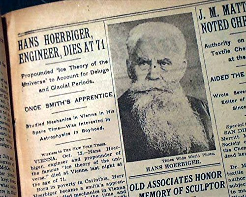 Hanns Hörbiger Austrian Engineeer & Librarian Arthur Cowley DEATH 1931  Newspaper THE NEW YORK TIMES, October 13, 1931