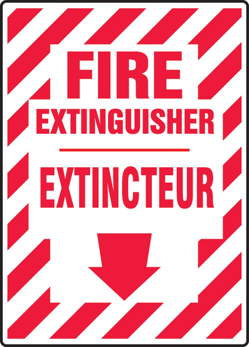 Red on White 10 Length x 7 Width x 0.004 Thickness Accuform FBMFXG931VS Adhesive Vinyl French Bilingual Sign DOWN ARROW LegendFIRE EXTINGUISHER //EXTINCTEUR