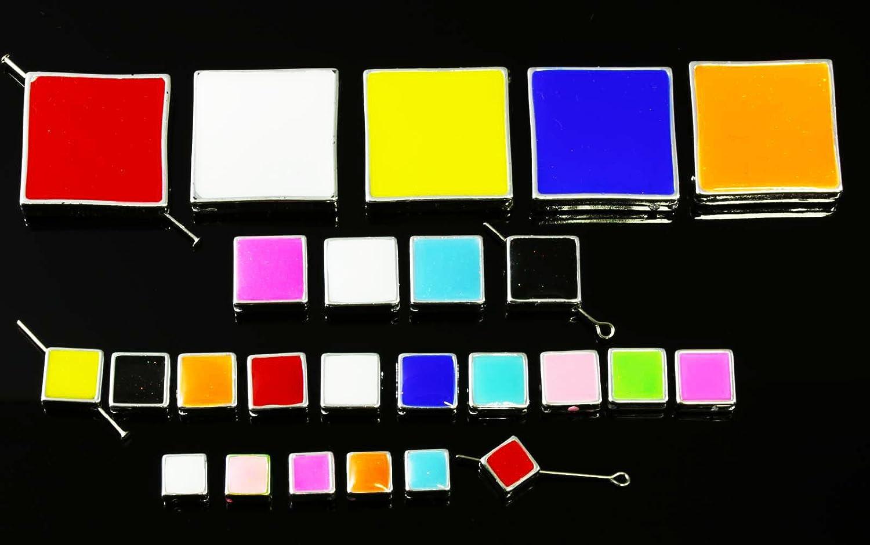 INWARIA Perlen Viereck Acryl Glitzer Quadrat Perle Farbauswahl Zwischenperlen, P-68, Orange, 9 x 9 mm, 5 Stück 5 Stück Generic