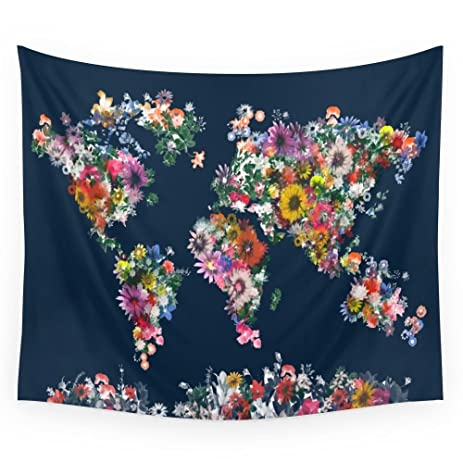 Amazon society6 world map floral wall tapestry small 51 x 60 society6 world map floral wall tapestry small 51quot gumiabroncs Image collections