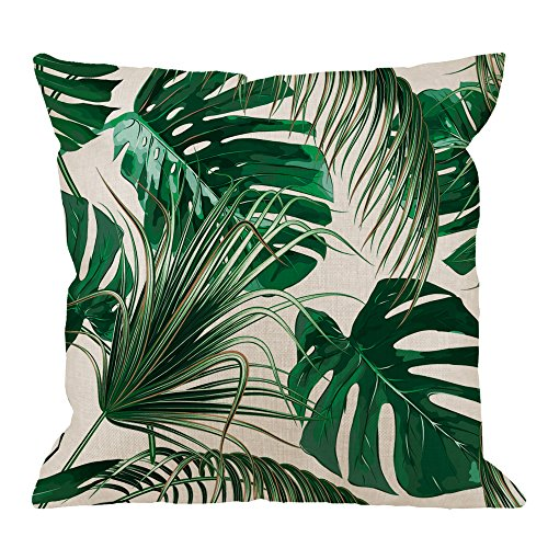 (HGOD DESIGNS Palm Leaf Decorative Throw Pillow Cover Case,Palm Tree Cotton Linen Outdoor Pillow cases Square Standard Cushion Covers For Sofa Couch Bed 18x18 inch Green)