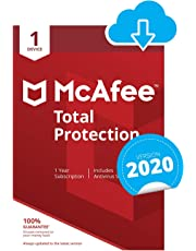 McAfee Total Protection 2020 | 1 Device | 1 Year | PC/Mac/Android/Smartphones | Download Code