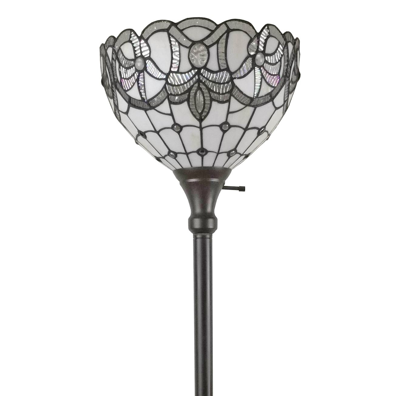 Amora Lighting Tiffany Style Floor Lamp Floral Torchiere Standing 72 Tall Stained Glass White Mahogany Antique Vintage Light Decor Bedroom Living Room Reading Gift AM284FL12, Multi-Colored