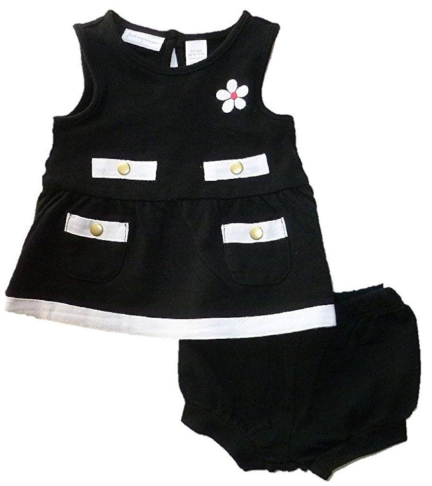 ベビー女の子ノースリーブブラックandホワイトドレスand Bloomer Set 0 - 3 Months  B06XJBS15M