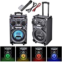 AW 10 Portable Trolley Speaker Bluetooth LED Light with Wireless Microphone Remote Control FM SD USB Port